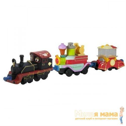 Die-Cast Chuggington LC54076 Паровозик Старина Пит с двумя вагончиками сладостей