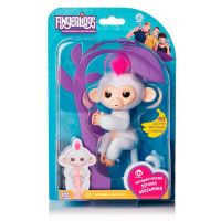 FINGERLINGS 3702A Обезьянка интерактивная СОФИЯ (белая), 12см